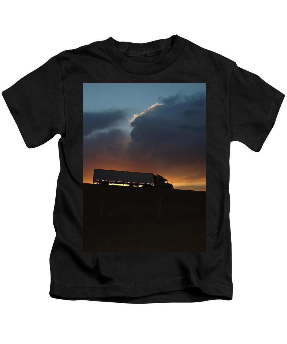Truck Kids T-Shirt featuring the photograph Trucking Along by Jerry McElroy