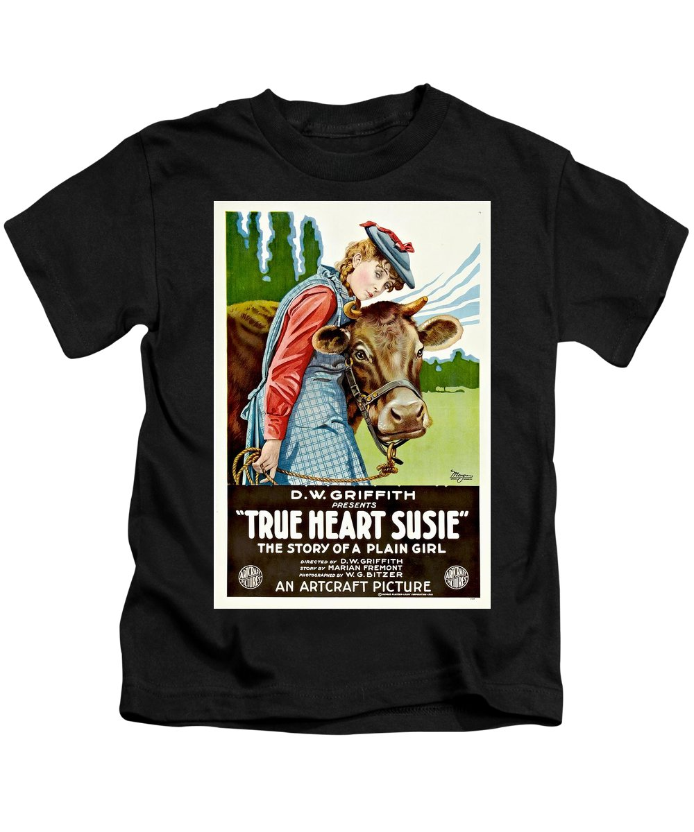 Movie Kids T-Shirt featuring the drawing True Heart Susie 1919 by Mountain Dreams