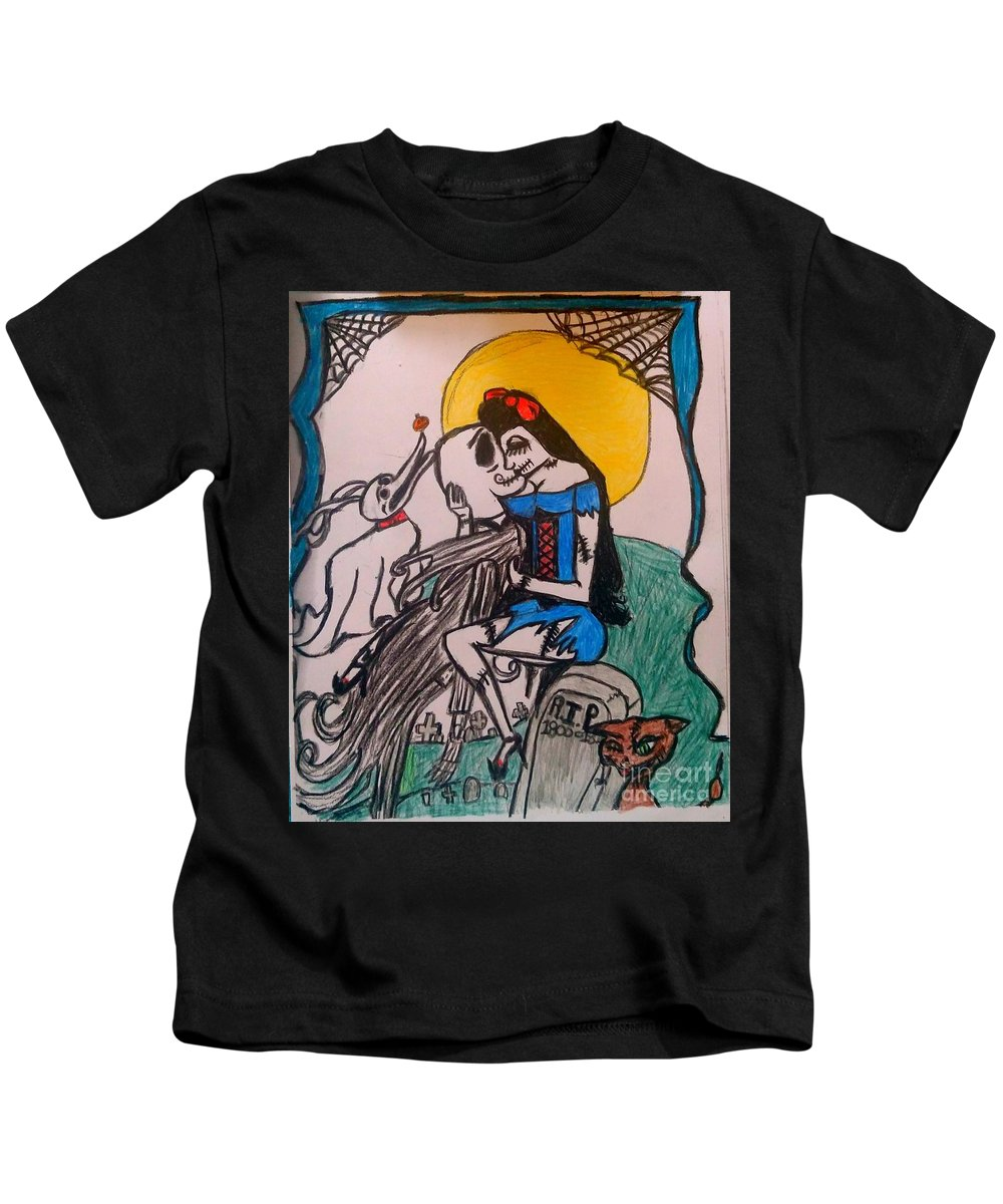 Disney Kids T-Shirt featuring the drawing True Love's Kiss In Color by Shylee Charlton