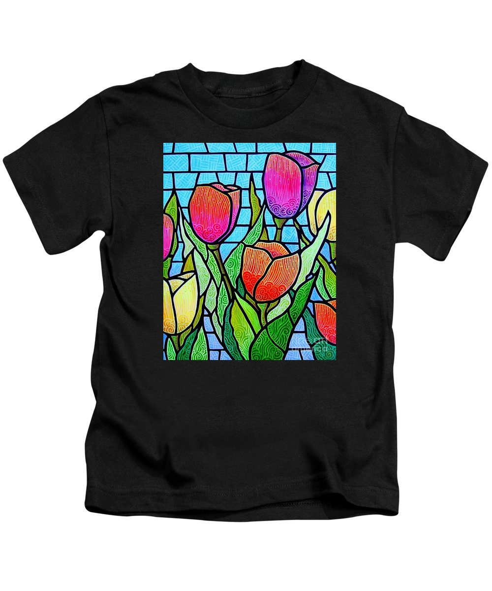 Tulips Kids T-Shirt featuring the painting Tulip Garden by Jim Harris