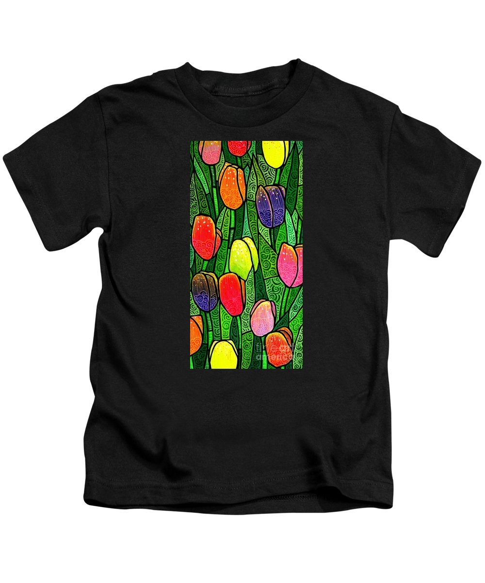 Tulips Kids T-Shirt featuring the painting Tulip Glory by Jim Harris