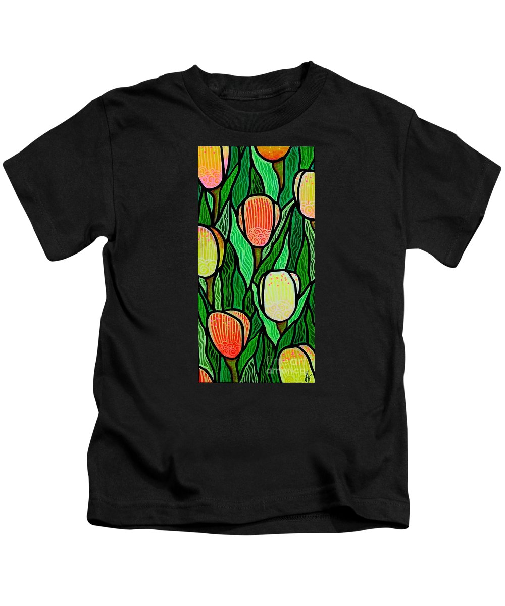 Tulips Kids T-Shirt featuring the painting Tulip Joy 2 by Jim Harris