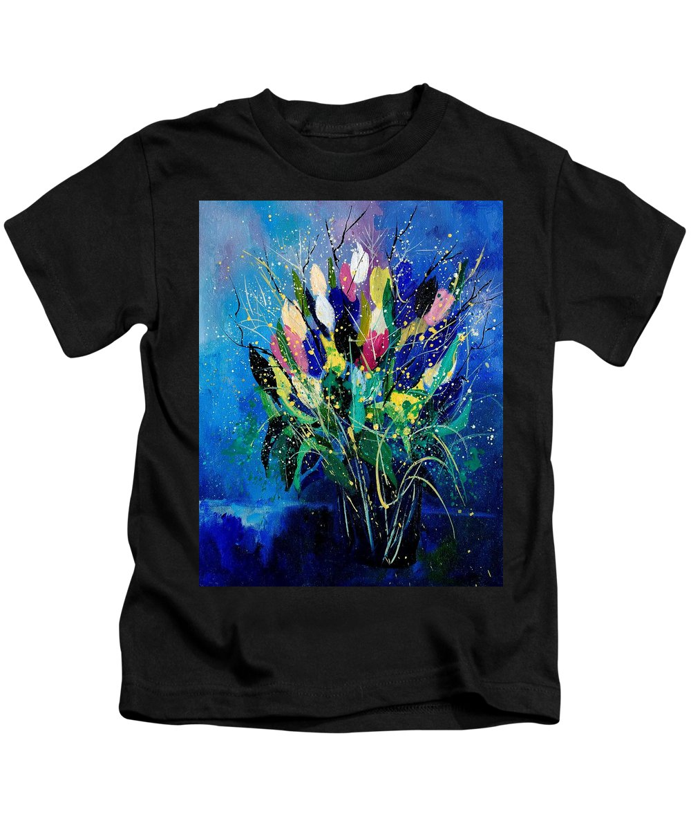 Flowers Kids T-Shirt featuring the painting Tulips 45 by Pol Ledent
