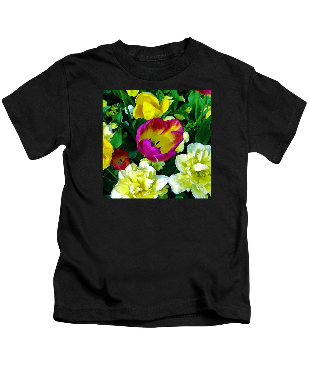 Flowers Kids T-Shirt featuring the painting Tulips And Flowers by Susanna Katherine