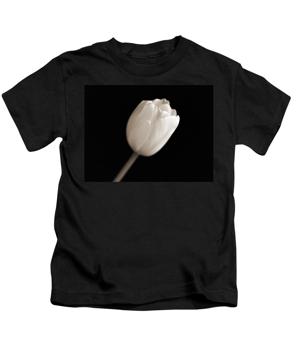 Tulips Flower Black And White Kids T-Shirt featuring the photograph Tulips by Norah Holsten