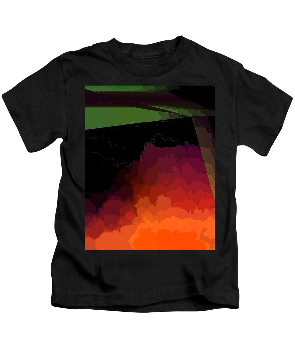 Abstract Kids T-Shirt featuring the digital art Turmoil Below Outlined by Ian MacDonald