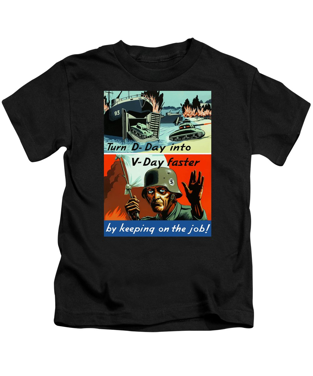 D Day Kids T-Shirt featuring the painting Turn D-day Into V-day Faster by War Is Hell Store