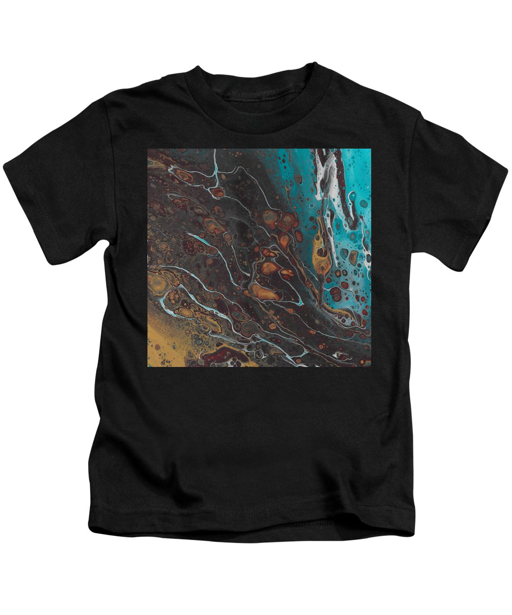 Blue Kids T-Shirt featuring the painting Turq's And Carnelian by Nicole Hall