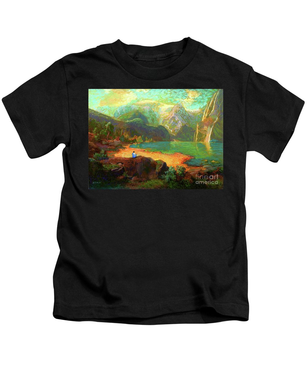 Meditation Kids T-Shirt featuring the painting Turquoise Tranquility Meditation by Jane Small