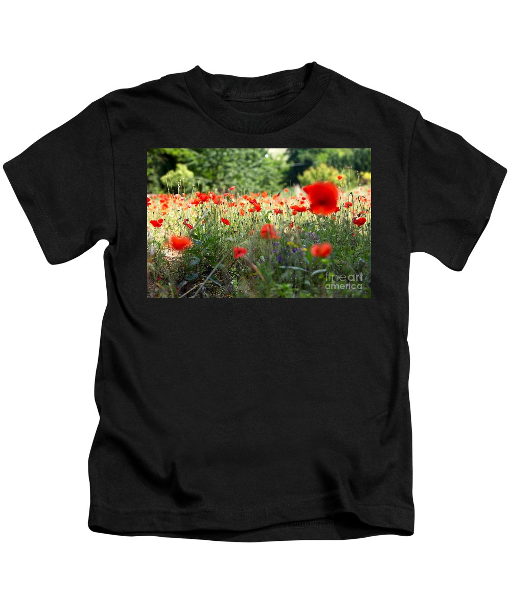 Poppies Kids T-Shirt featuring the photograph Tuscan Poppies by Nadine Rippelmeyer