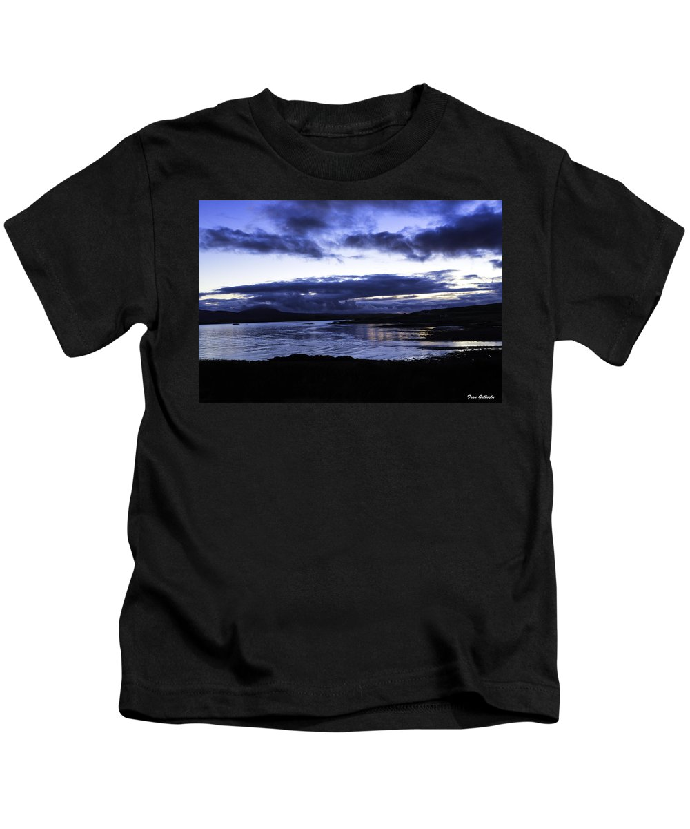 Twilight Kids T-Shirt featuring the photograph Twilight At Loch Bracadale by Fran Gallogly