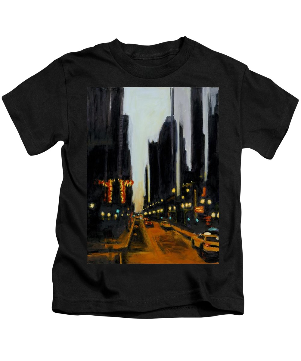 Rob Reeves Kids T-Shirt featuring the painting Twilight In Chicago by Robert Reeves
