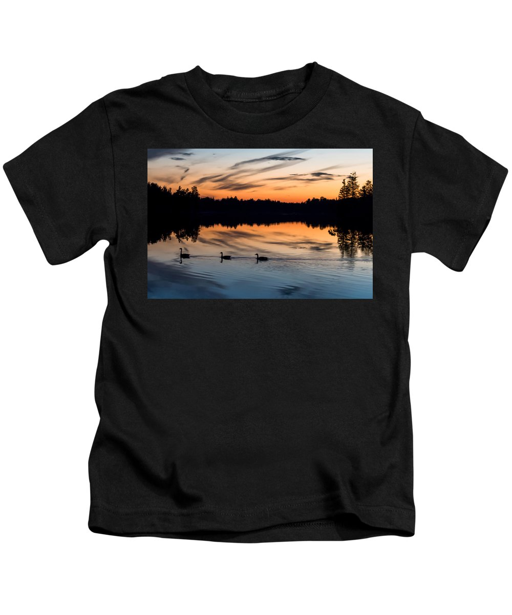 Terry D Photography Kids T-Shirt featuring the photograph Twilight Lake Swim New Jersey by Terry DeLuco
