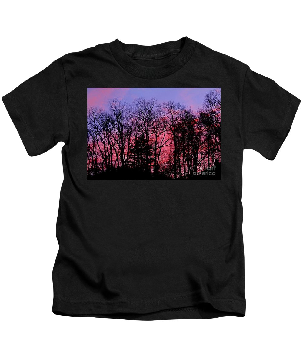 Twilight Trees Forest Sunsets Silhouette Nature Prints Natural Landscapes Skyscapes Colorful Skies Pink And Purple Clouds Kids T-Shirt featuring the photograph Twilight Trees by Joshua Bales
