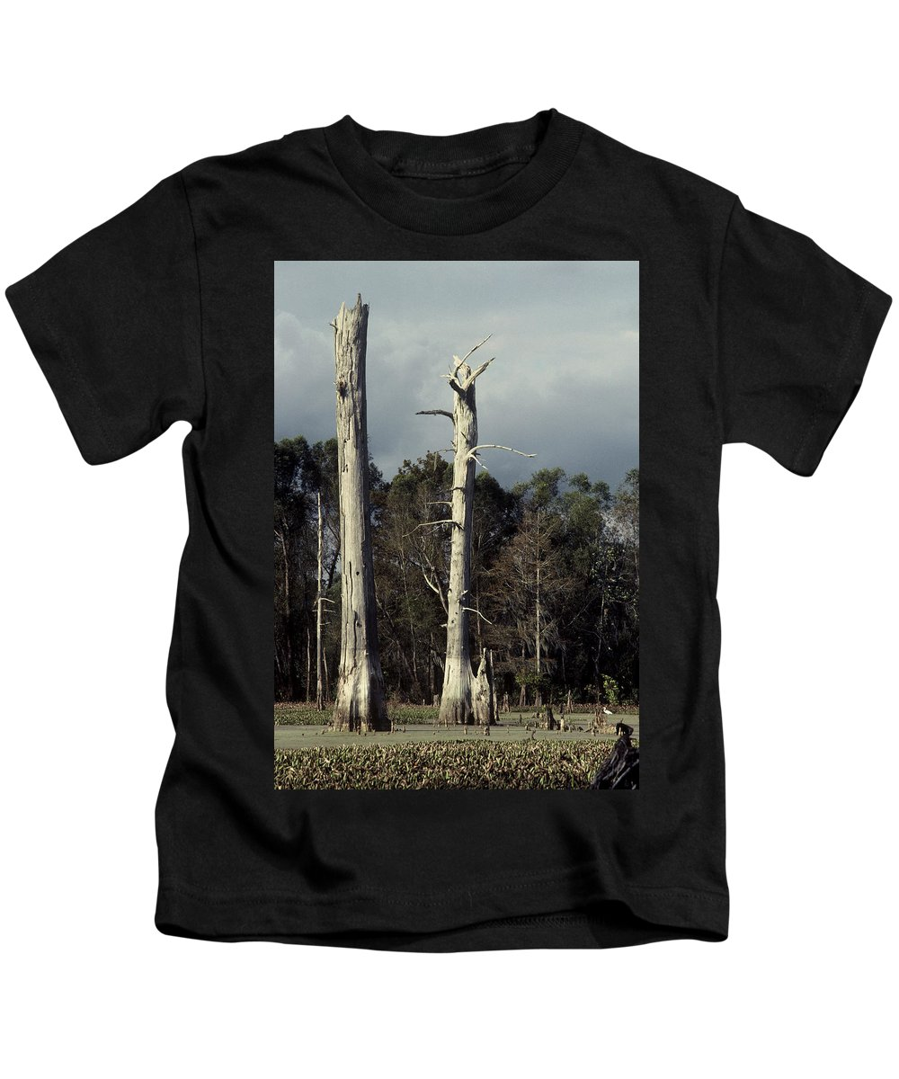 Dead Trees Kids T-Shirt featuring the photograph Twin Cypress by Herman Robert