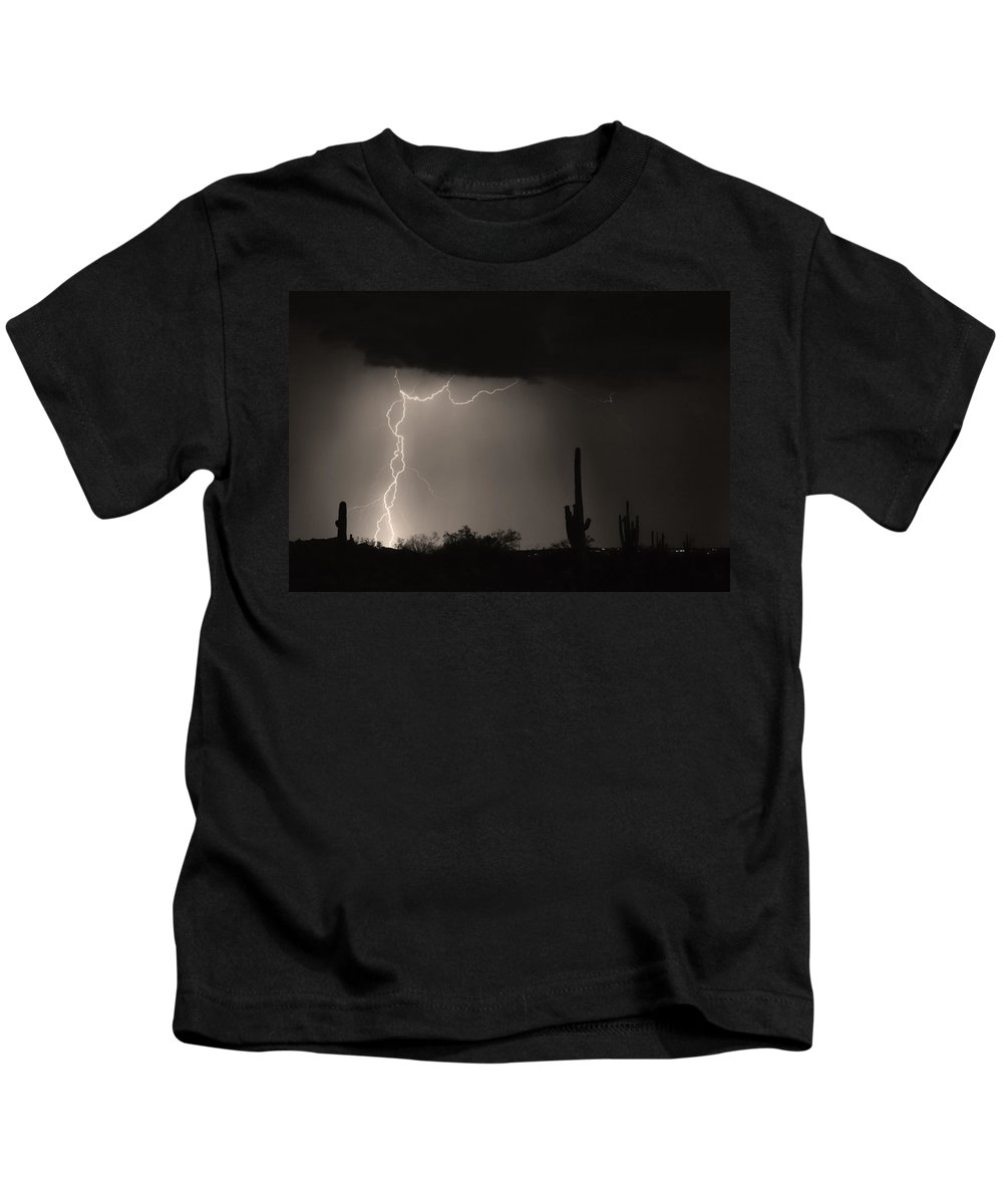 Lightning Photography Kids T-Shirt featuring the photograph Twisted Storm - Sepia Print by James BO Insogna