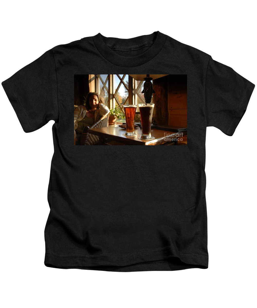 Beer Kids T-Shirt featuring the photograph Two Beers At The Lodge by David Lee Thompson