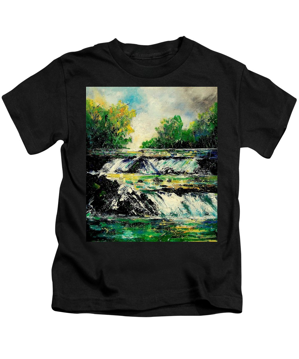 River Kids T-Shirt featuring the painting Two Falls by Pol Ledent