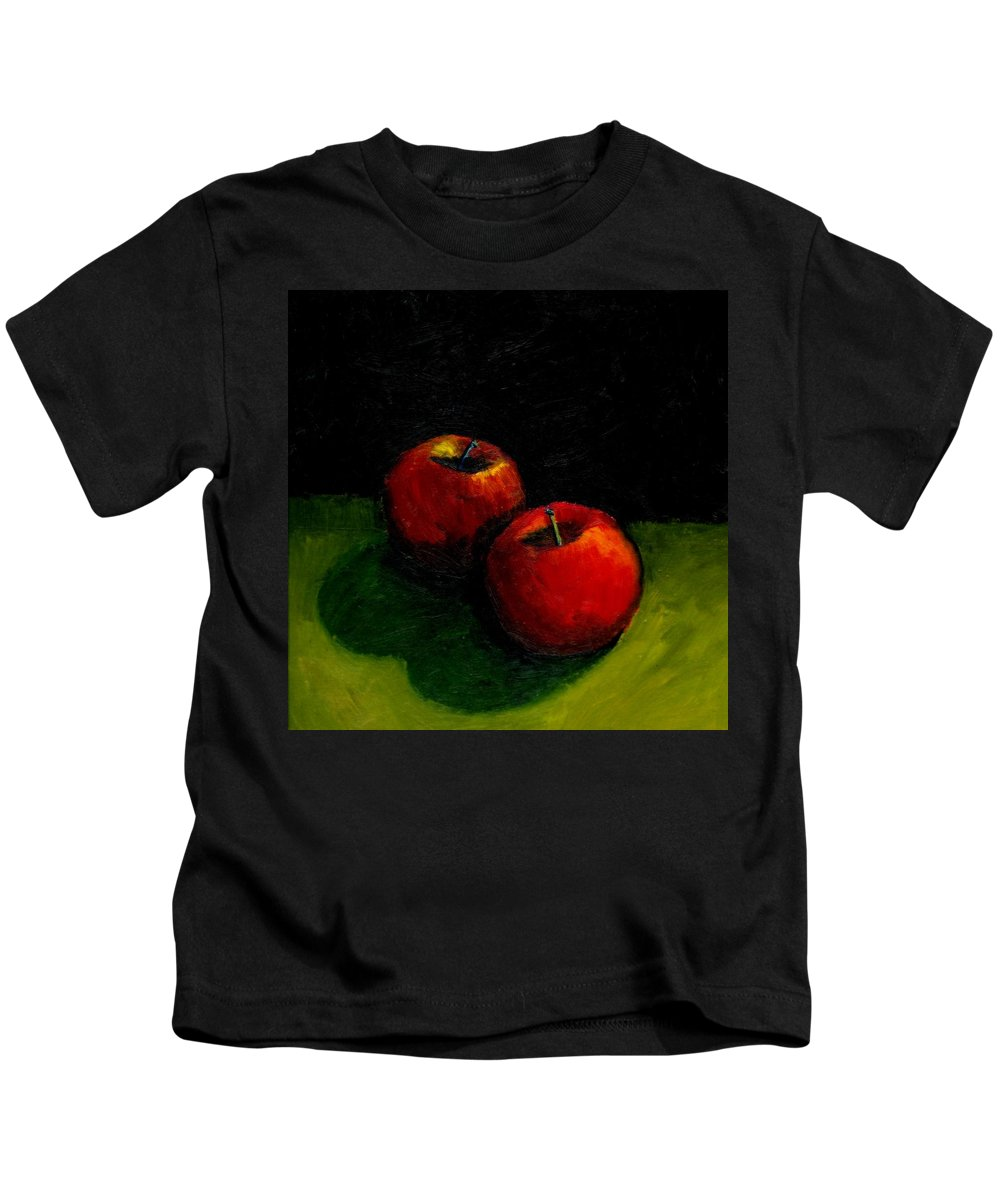 Red Kids T-Shirt featuring the painting Two Red Apples Still Life by Michelle Calkins