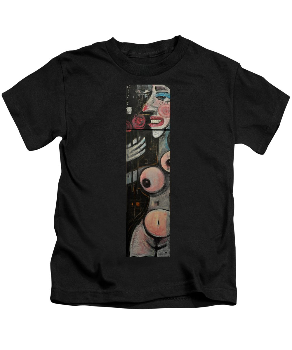 Nude Kids T-Shirt featuring the painting Two Roses by Tim Nyberg