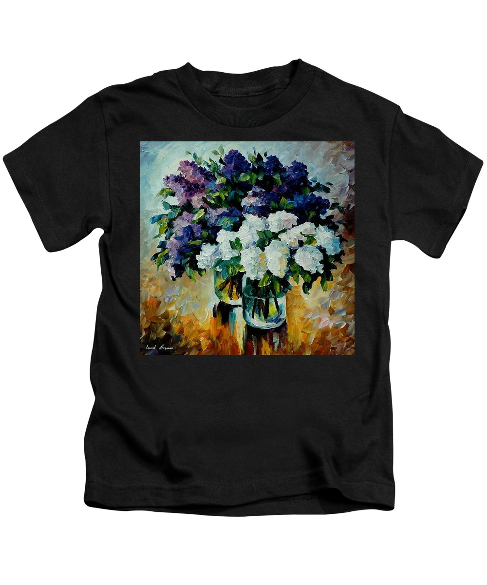 Painting Kids T-Shirt featuring the painting Two Spring Colors by Leonid Afremov