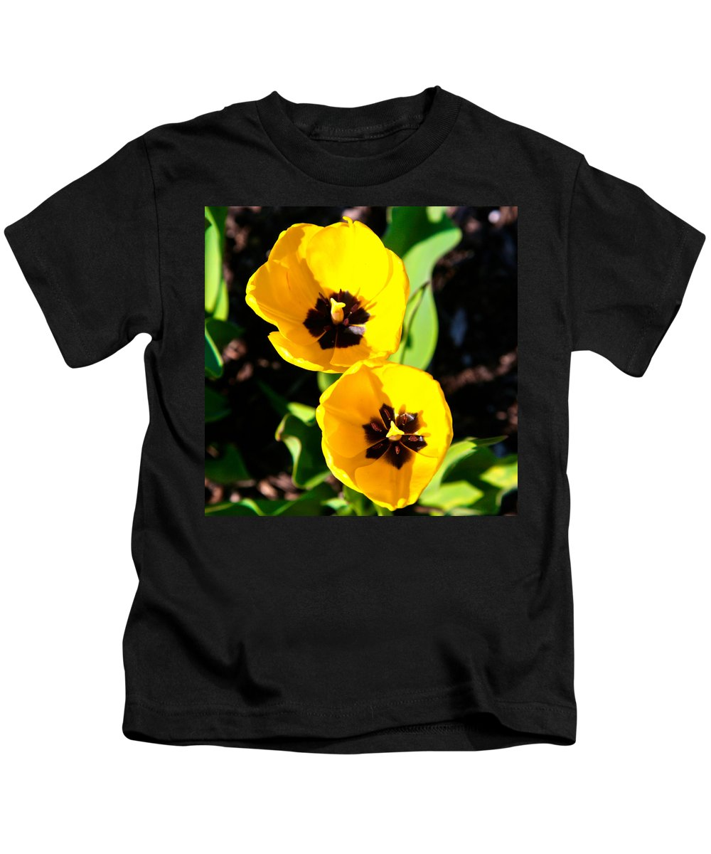Related Tags: Flowers Artwork Kids T-Shirt featuring the photograph Two Tulips 2 by Robert Pearson