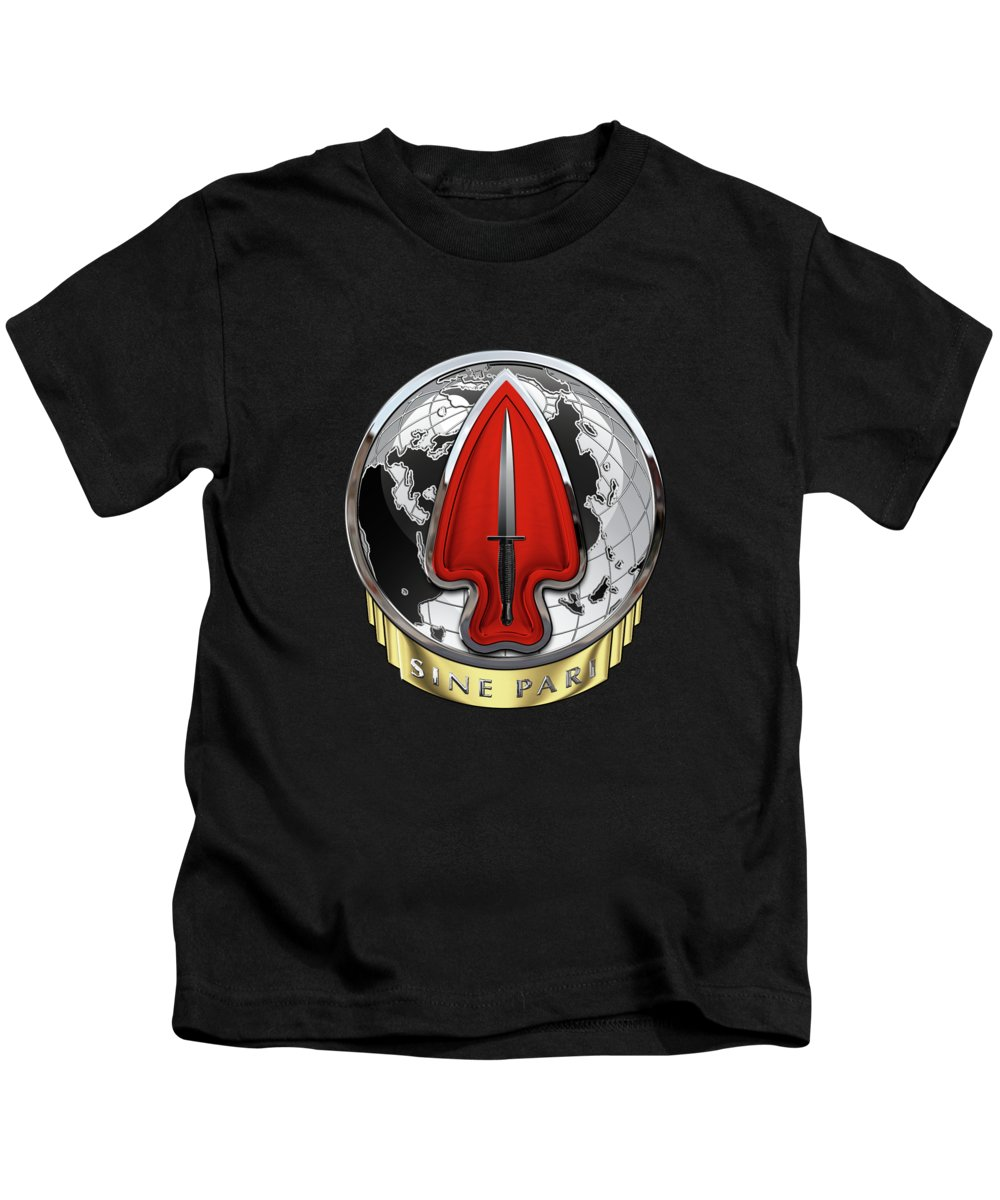 'military Insignia 3d' Collection By Serge Averbukh Kids T-Shirt featuring the digital art U. S. Army Special Operations Command - U S A S O C  D U I Over Black Velvet by Serge Averbukh