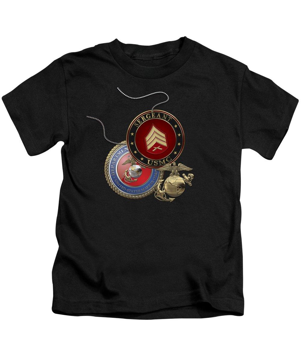 Military Insignia 3d By Serge Averbukh Kids T-Shirt featuring the digital art U. S. Marines Sergeant - U S M C Sgt Rank Insignia Over Black Velvet by Serge Averbukh