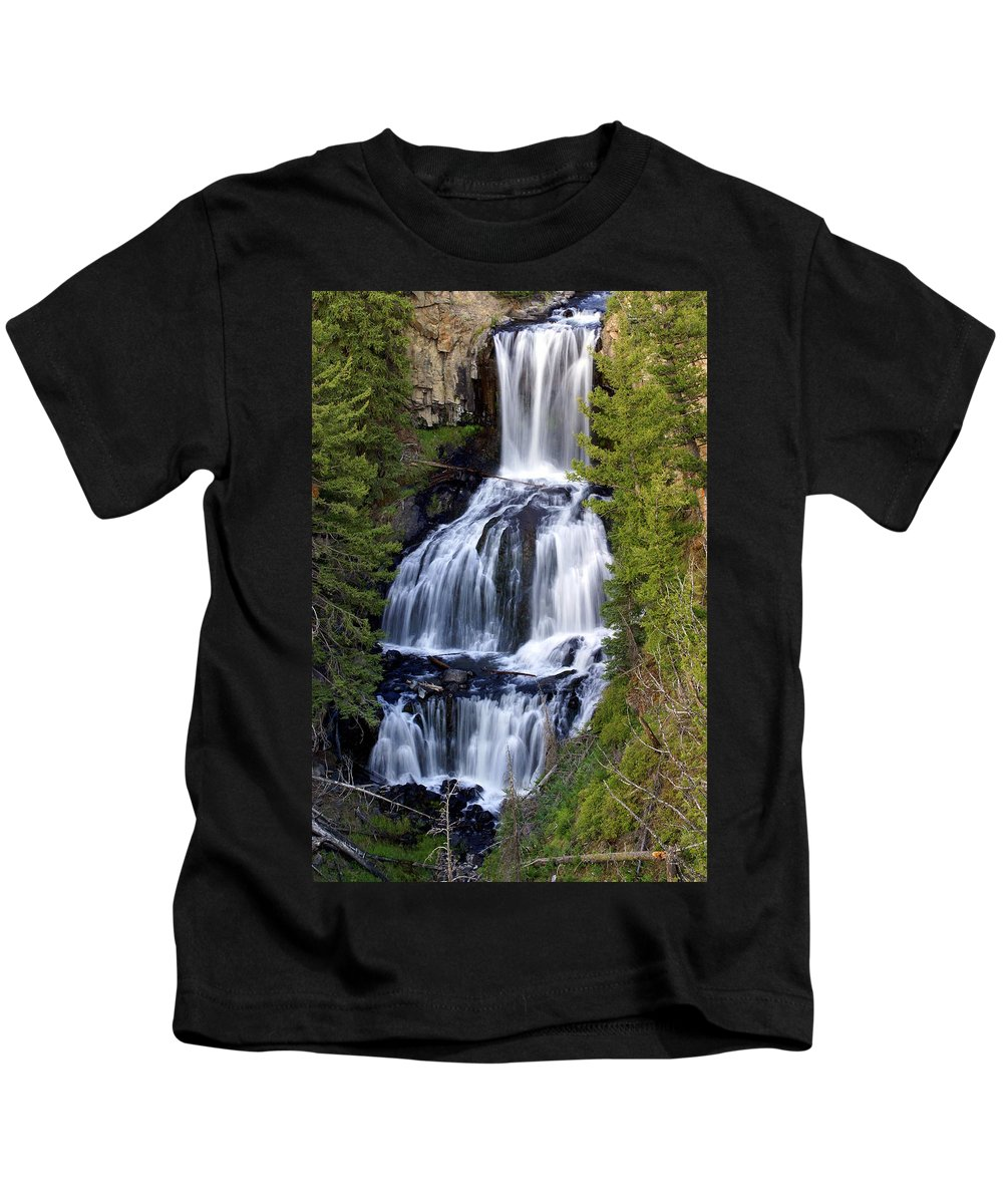 Udine Falls Kids T-Shirt featuring the photograph Udine Falls by Marty Koch