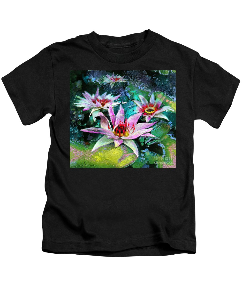 Flower Painting Kids T-Shirt featuring the painting Ufoscape 01 by Miki De Goodaboom