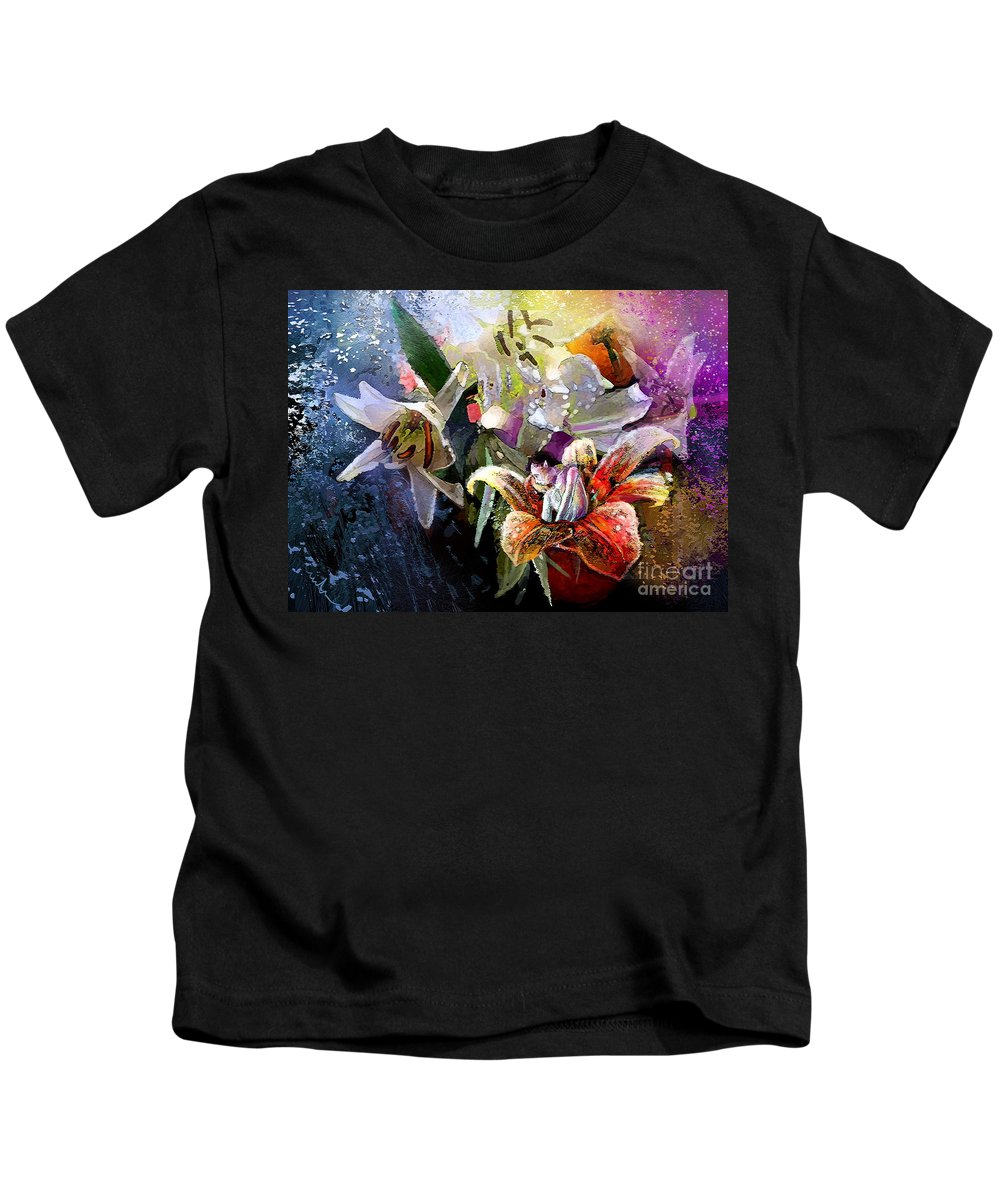 Flowers Painting Kids T-Shirt featuring the painting Ufoscape 03 by Miki De Goodaboom