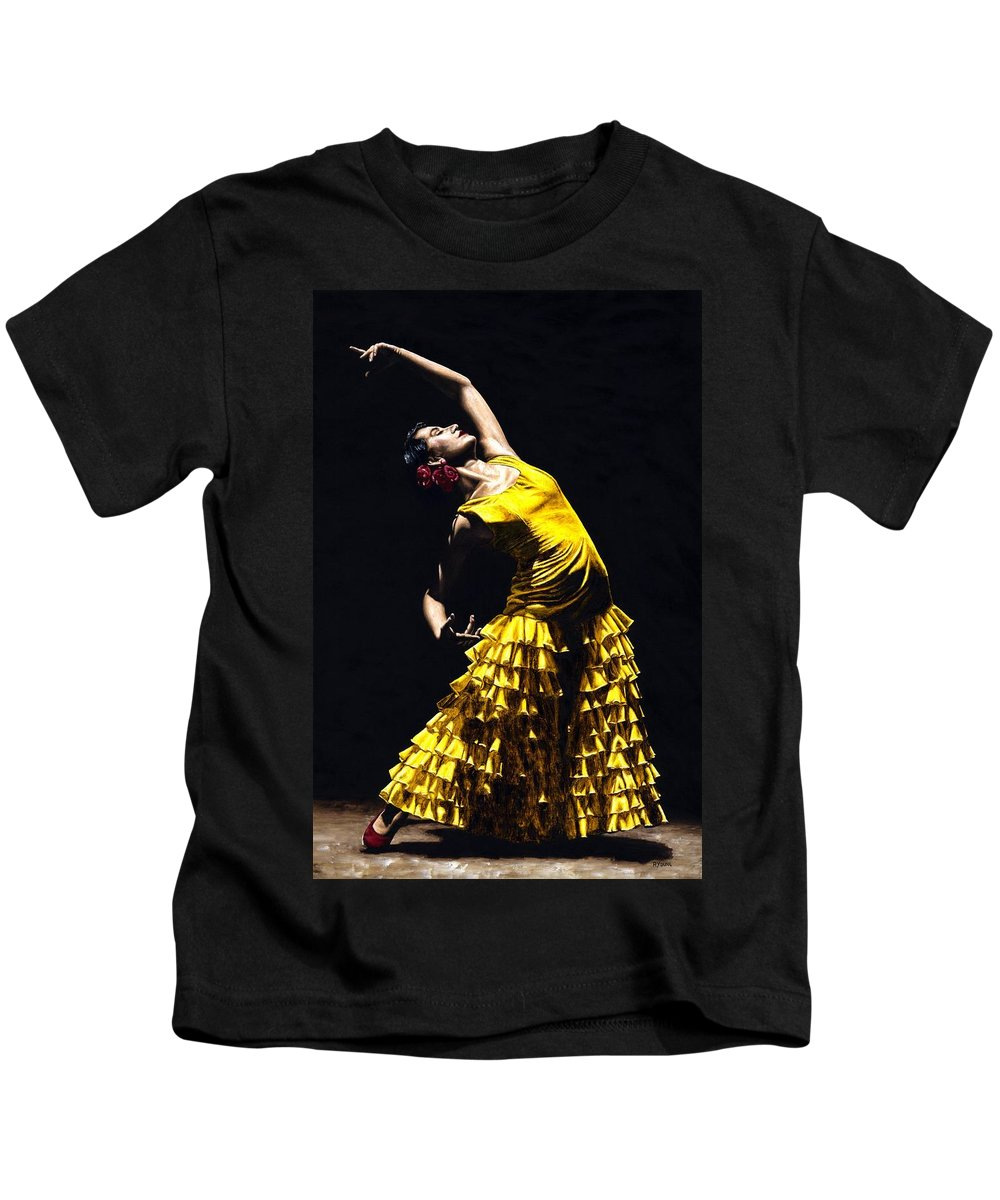 Flamenco Kids T-Shirt featuring the painting Un Momento Intenso Del Flamenco by Richard Young