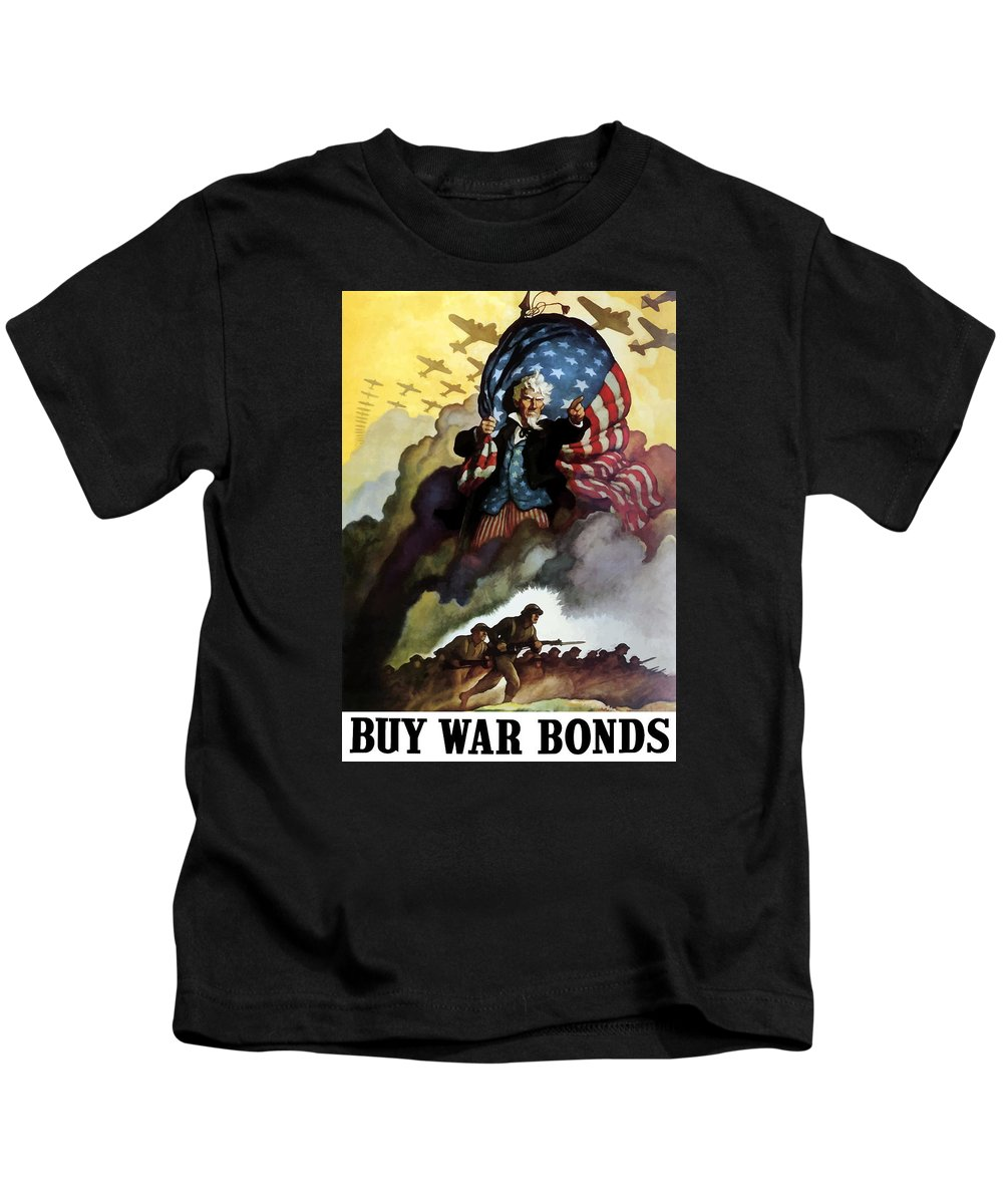 Uncle Sam Kids T-Shirt featuring the painting Uncle Sam - Buy War Bonds by War Is Hell Store
