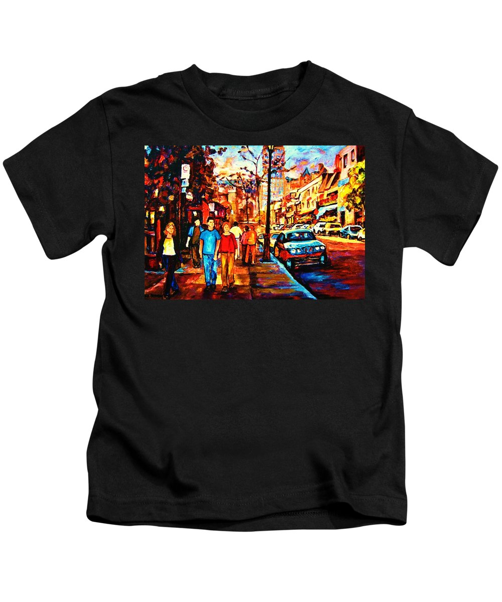 Montrealstreetscene Kids T-Shirt featuring the painting Under A Crescent Moon by Carole Spandau