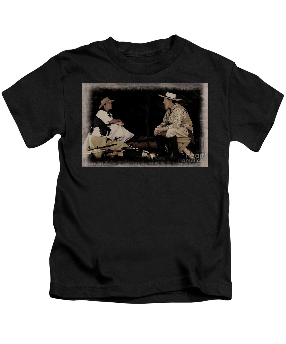 Living History Kids T-Shirt featuring the photograph Under My Tent by Kim Henderson