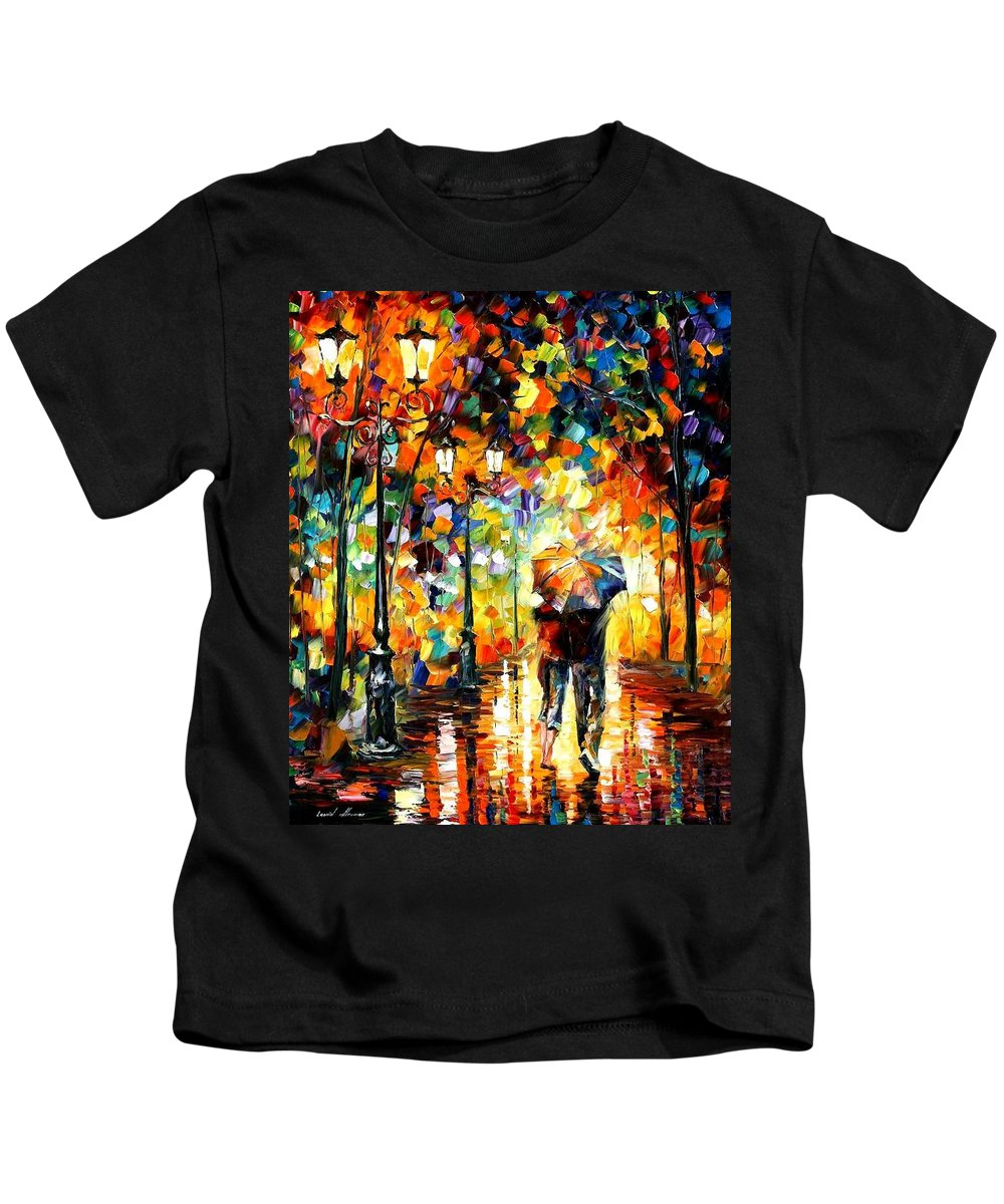 Afremov Kids T-Shirt featuring the painting Under One Umbrella by Leonid Afremov