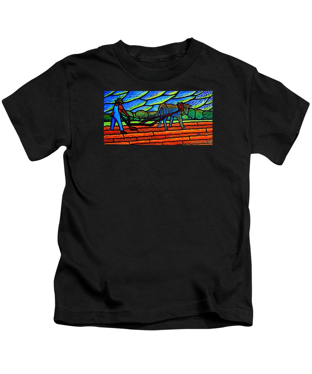 Farm Kids T-Shirt featuring the painting Under Threat Of A Storm 2 by Jim Harris