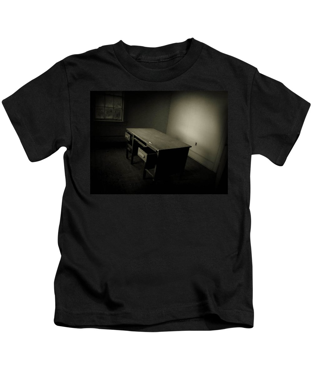 Desk Kids T-Shirt featuring the photograph Unfinished Business by Jessica Brawley