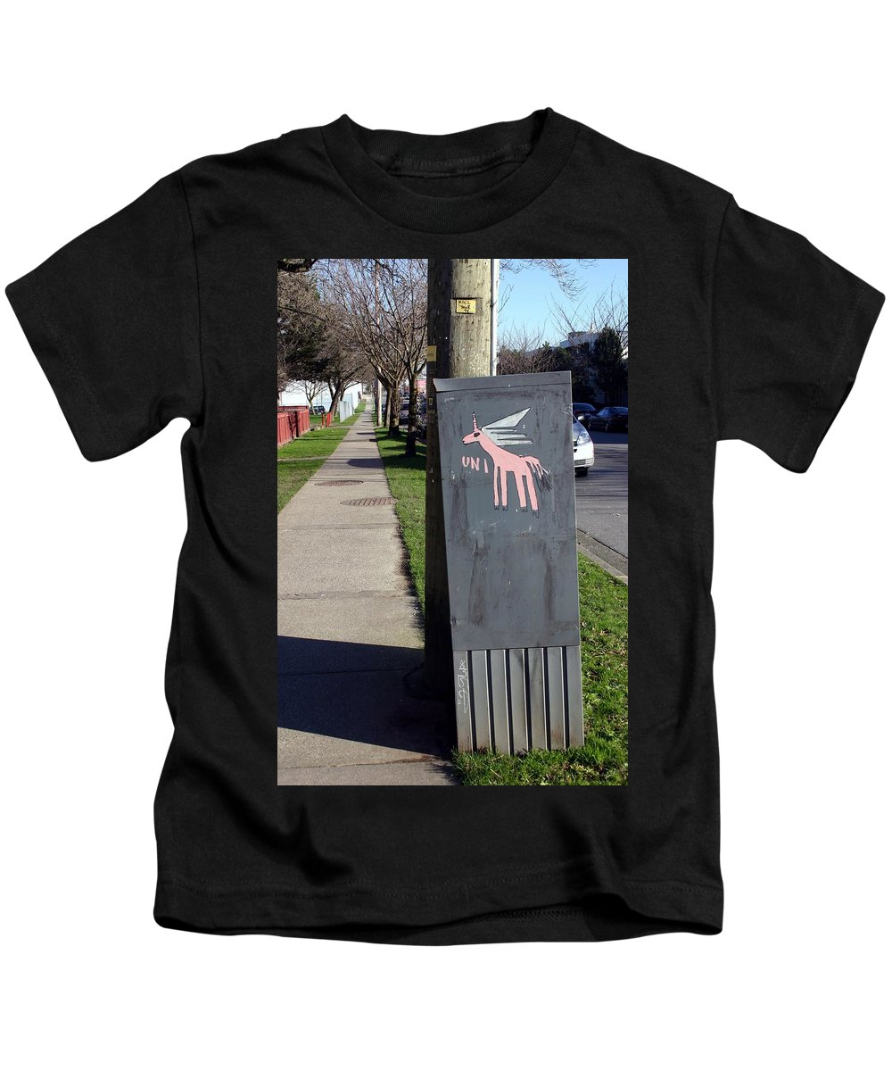 Mail Box Kids T-Shirt featuring the photograph Unicorn Mail Delivery by Minaz Jantz