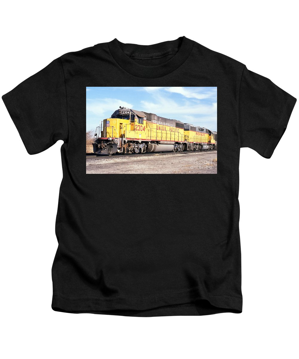 Up Kids T-Shirt featuring the photograph Union Pacific Up - Railimages@aol.com by Ronald Estes