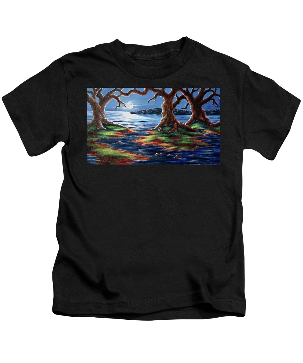 Textured Painting Kids T-Shirt featuring the painting United Trees by Jennifer McDuffie