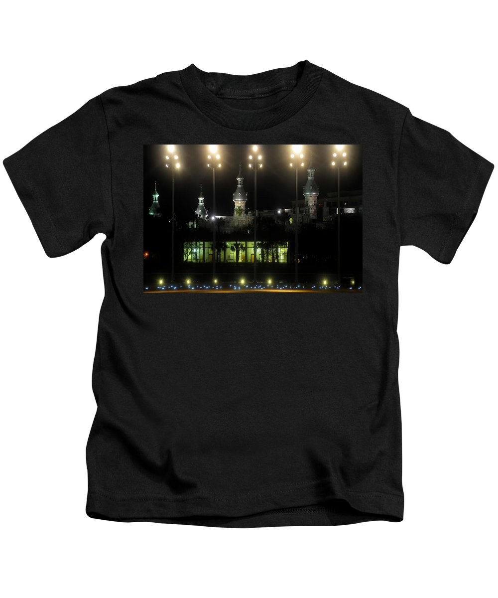 University Of Tampa Kids T-Shirt featuring the photograph University Of Tampa Lights by David Lee Thompson