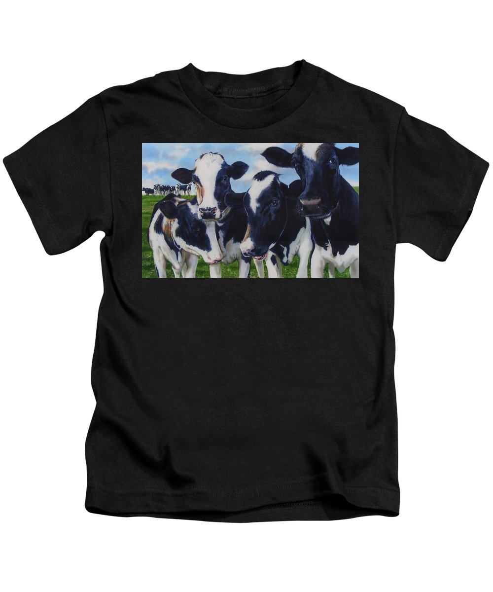 Cows Kids T-Shirt featuring the painting Up Front by Denny Bond