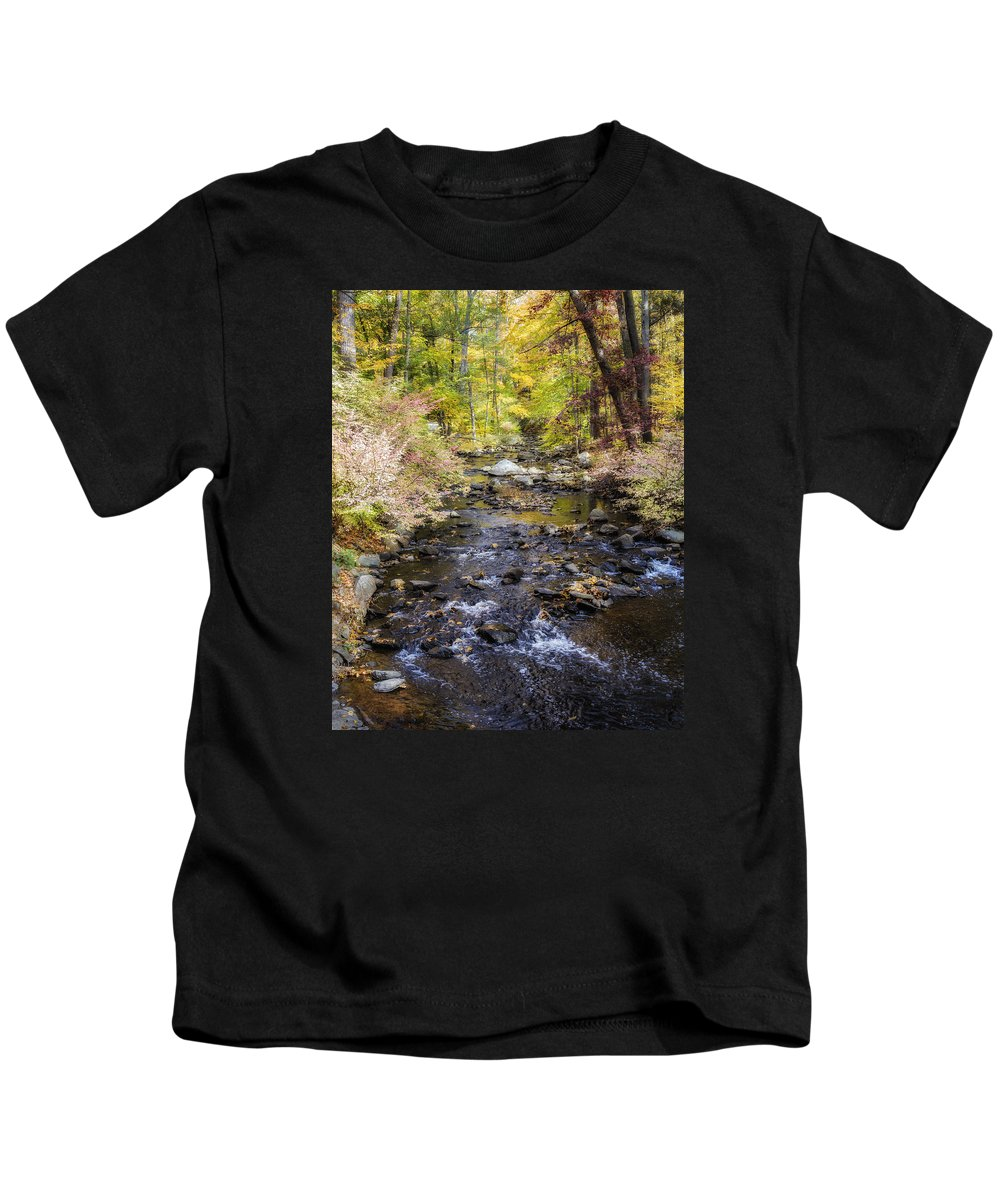 Autumn Kids T-Shirt featuring the photograph Up The River Gg 5671 by Karen Celella