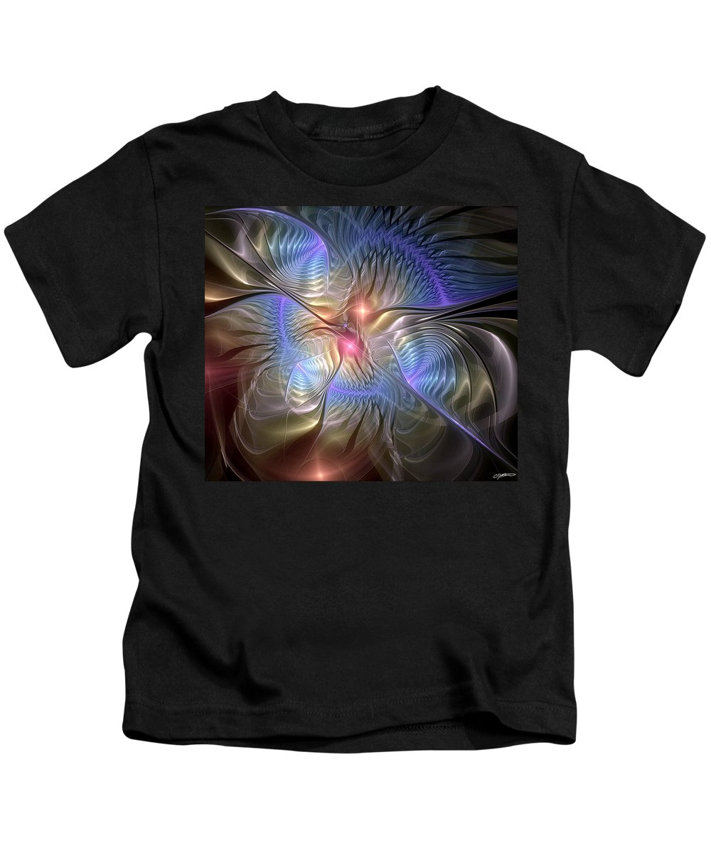Abstract Kids T-Shirt featuring the digital art Upon The Wings Of Music by Casey Kotas
