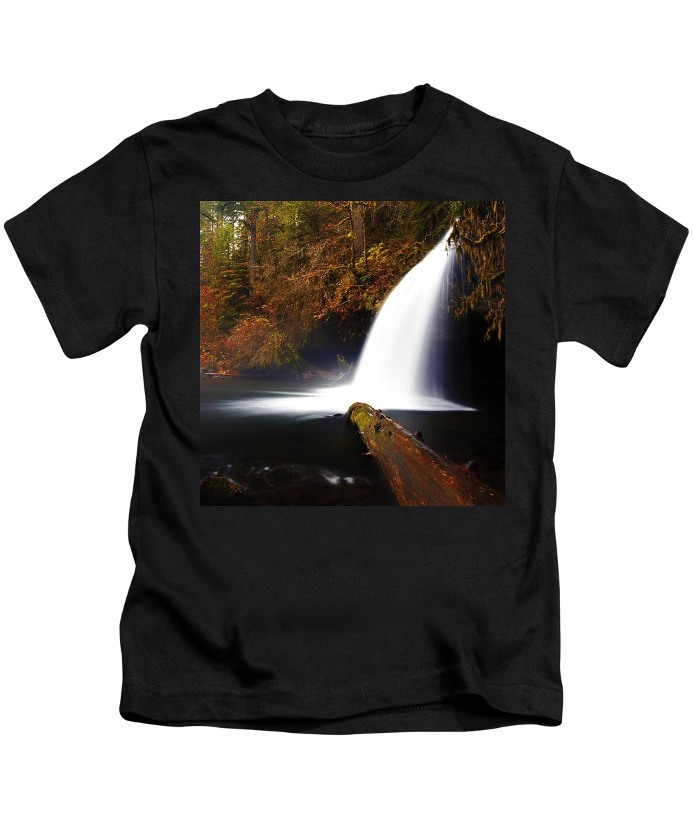 Columbia Gorge Kids T-Shirt featuring the photograph Upper Butte Creek Falls by Ingrid Smith-Johnsen