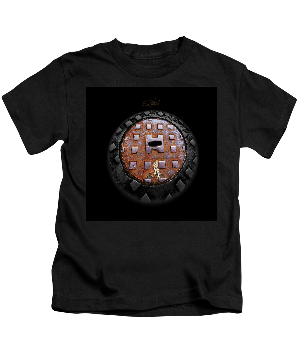 Manhole Kids T-Shirt featuring the photograph Urban Voice Button by Charles Stuart