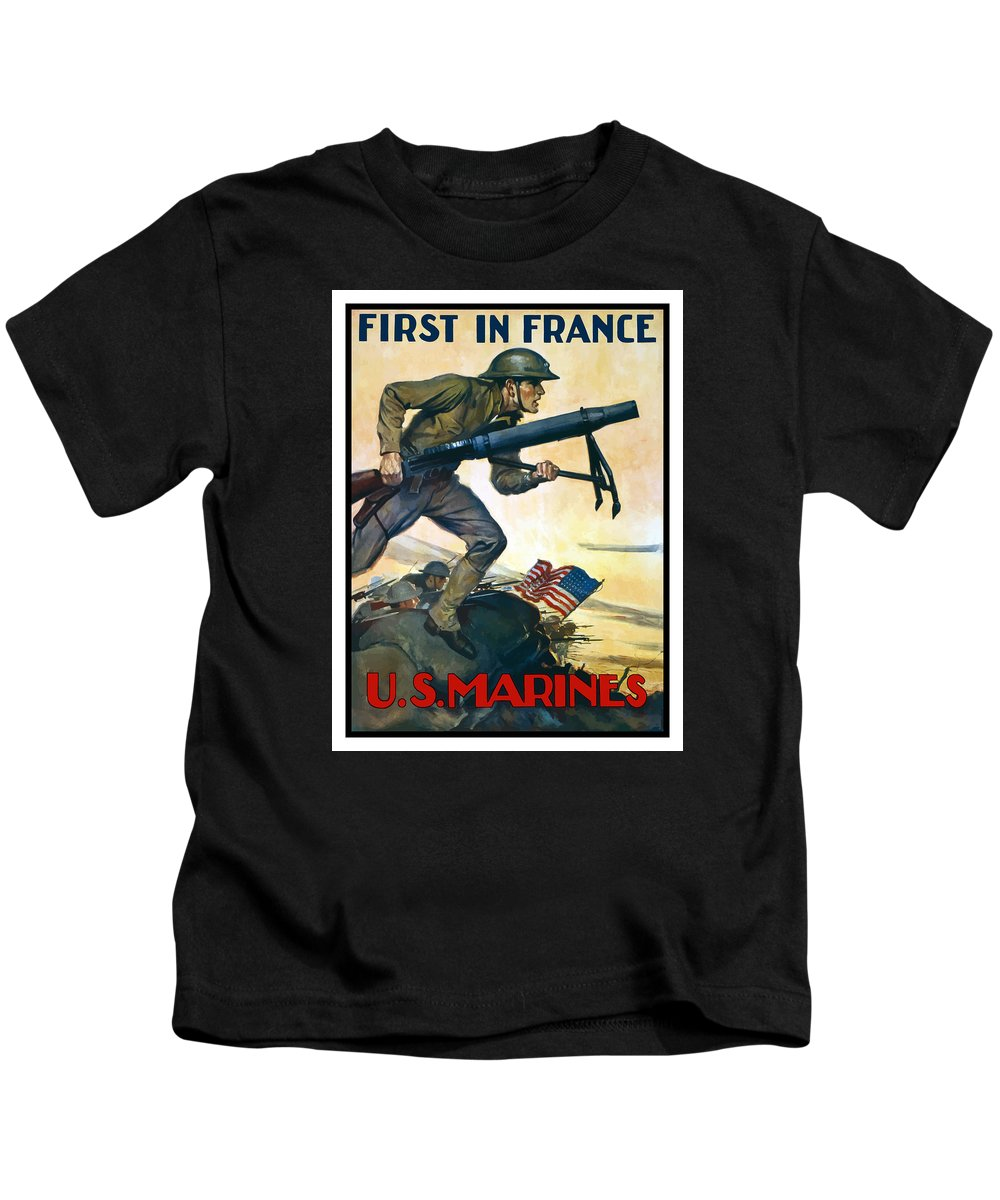 Marines Kids T-Shirt featuring the painting Us Marines - First In France by War Is Hell Store