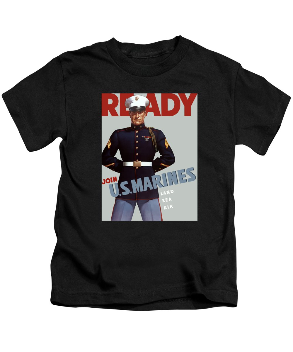 Marine Recruiting Kids T-Shirt featuring the painting Us Marines - Ready by War Is Hell Store