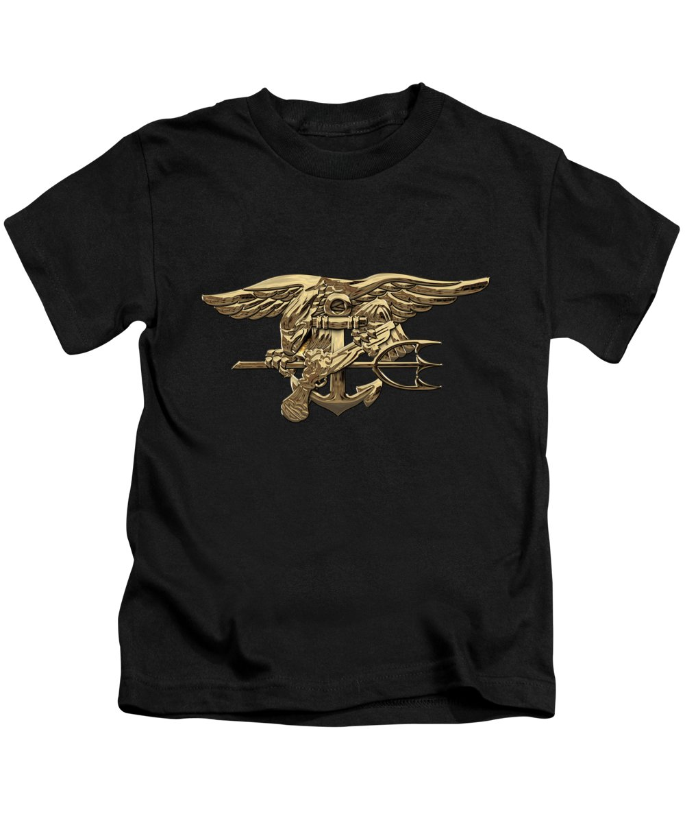 'military Insignia & Heraldry - Nswc' Collection By Serge Averbukh Kids T-Shirt featuring the digital art U.s. Navy Seals Trident Over Black Flag by Serge Averbukh